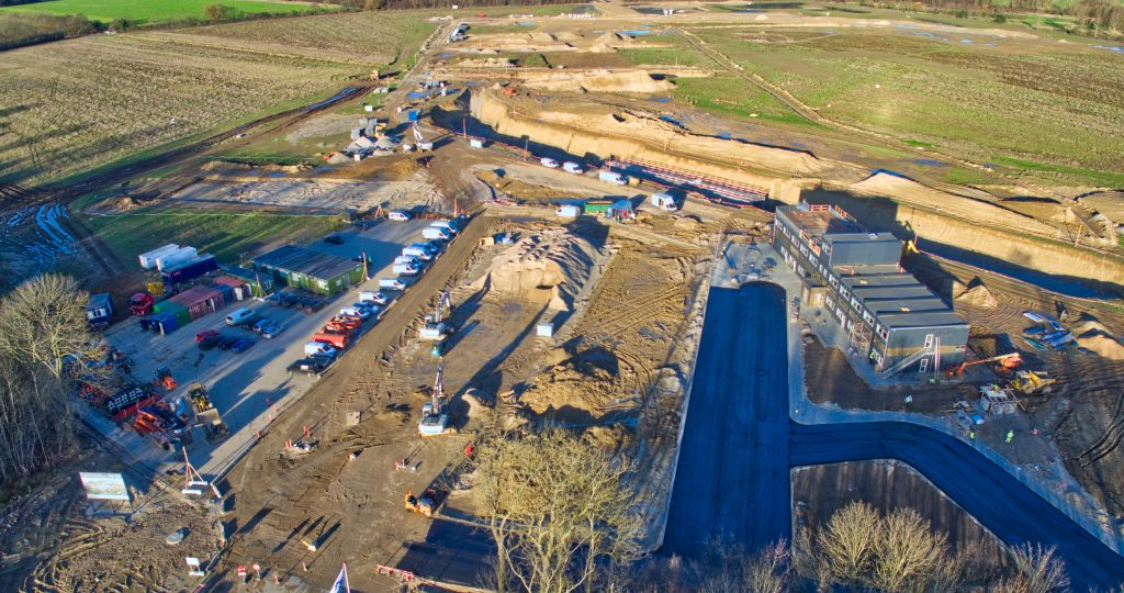 Nyt OUH byggeri set fra drone, November 2016