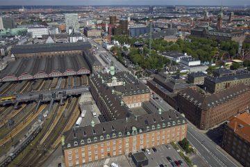 Dronefoto Københavns hovedbanegård og Tivoli